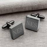 Personalized Cufflinks Men's Square Gunmetal