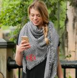 Monogrammed Blanket Scarf Black And White  . . .