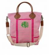 Monogrammed Flight Bag In Pink Stripes