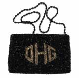 Diamond Monogram Hand Beaded Pouch Gusset Bag