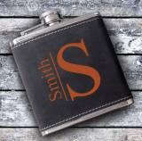 Monogrammed Suede Flask