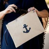 Monogrammed Anchor Canvas Zip Pouch