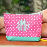 Monogrammed Dottie Polka Dot Cosmetic Bag