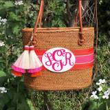 Monogrammed Medium Oval Bali Bag
