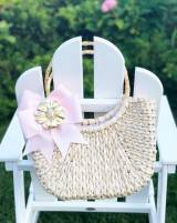 Half Moon  Straw Tote With Bow And Motif