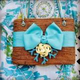 Large Oval Bali Bag Bow Turquoise Beaded  . . .