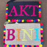 Personalized Beaded Large Jute Clutch With  . . .