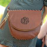 Monogrammed Camel Vegan Leather Sienna  . . .