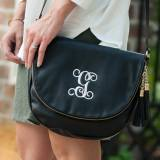 Monogrammed Black Vegan Leather Sienna  . . .