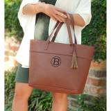 Monogrammed Camel Vegan Leather Aubrey  . . .