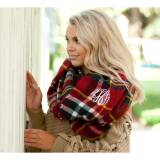 Monogrammed Navy And Garnet Plaid Londyn  . . .