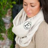 Monogrammed Creme Solid Londyn Infinity Scarf