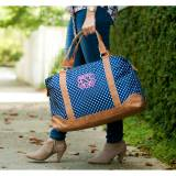 Personalized Navy Charlie Dot Weekender Bag