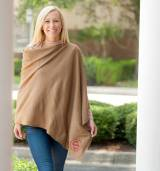 Monogrammed Taupe Soft Chelsea Poncho