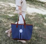 St. Anne Tote Navy Geometric Navy And  . . .