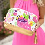Monogrammed Floral Cabana Cosmetic Bag
