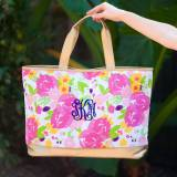Personalized Floral Canvas Cabana Tote