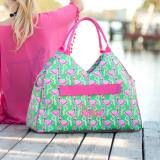 Monogrammed Flamingle Beach Bag