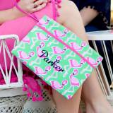 Personalized Flamingle Zip Travel Pouch  . . .