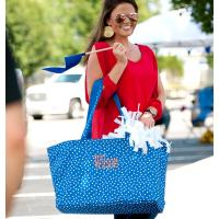 Personalized Royal Blue Scattered Dot Ultimate Tote