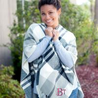 Monogrammed Black and Grey Plaid Kennedy Shawl