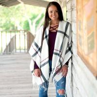Monogrammed Creme and Wine Plaid Kennedy Shawl