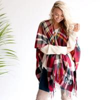 Monogrammed Navy and Garnet Plaid Kennedy Shawl
