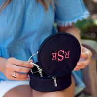 Personalized Round Black Jewelry Case