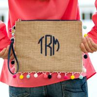 Monogrammed Pom Pom Clutch with Multicolor Trim