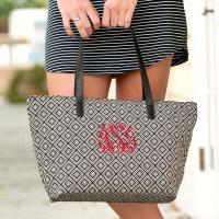 Monogrammed Black Diamond Charlotte Tote Purse