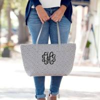 Monogrammed Grey Diamond Charlotte Tote Purse