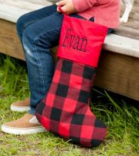 Personalized Red Buffalo Check Stocking