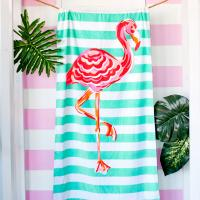 Personalized Flamingo Stripe Beach Towel