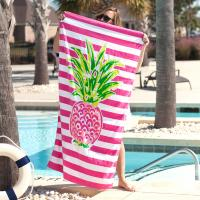 Personalized Pineapple Stripe Beach Towel