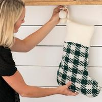 Monogrammed Green Check Knit Stocking