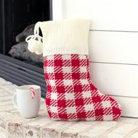 Monogrammed Red Check Knit Stocking