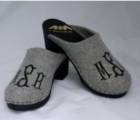 Monogrammed High Heel Wooden Clogs