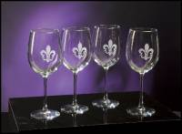 Wine Glasses with  Fleur-de-lis Set of Four