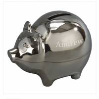 Personalized Silver-Plated Piggy Bank