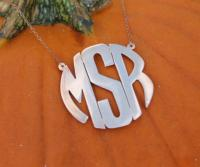Monogrammed Block Style Pendant On Split Chain