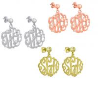 Classic Monogrammed Script Earrings on Post