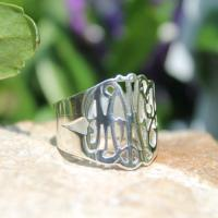 Monogrammed Hand Cut Script Ring 2 Sizes