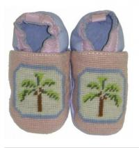 By Paige Needlepoint Pink Palm Tree Baby Booties