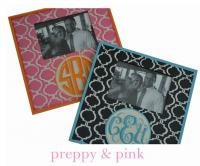 Monogrammed Hand Painted Patterned  Picture Frame