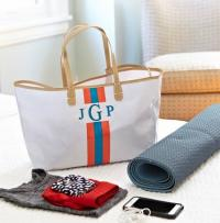 Monogrammed Canvas Racing Stripe Tote in 6 Colors