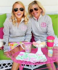 Monogrammed Ladies Charles River Sweater Quarter Zip Pullovers