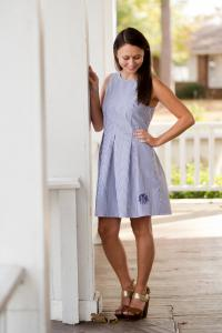 Monogrammed Ladies Blue Seersucker Dress