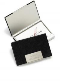 Personalized Business Card Case in Black Leather