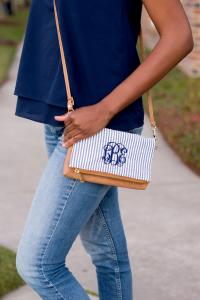 Monogrammed Navy Seersucker Crossbody