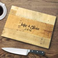 Personalized Glass Cutting Boards Wood Background
